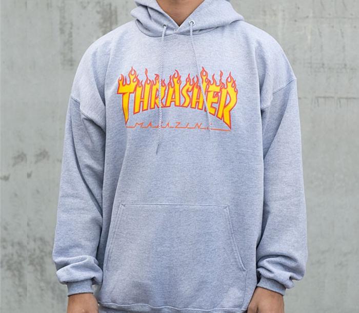 thrasherflamelogohoodiegrey
