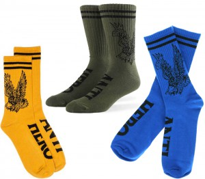 antiflyingeaglesocksolivegoldblue