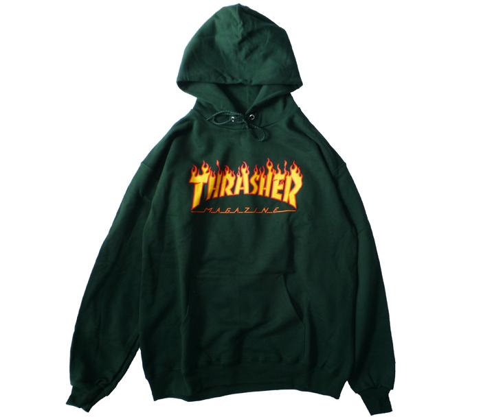 ThrasherFlameLogoHoodieMossGreen