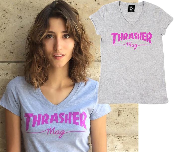 ThrasherGirlsThrasherMagLogoVNeckTee
