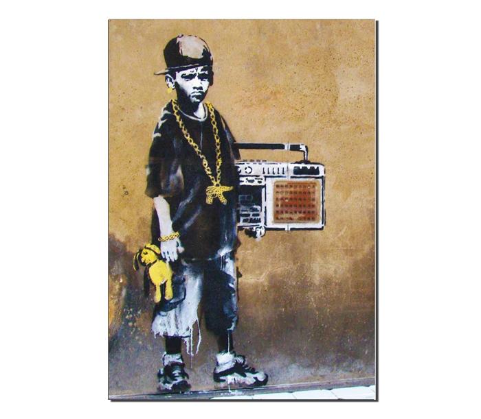 BanksyBBoyWithTeddyGreetingCard