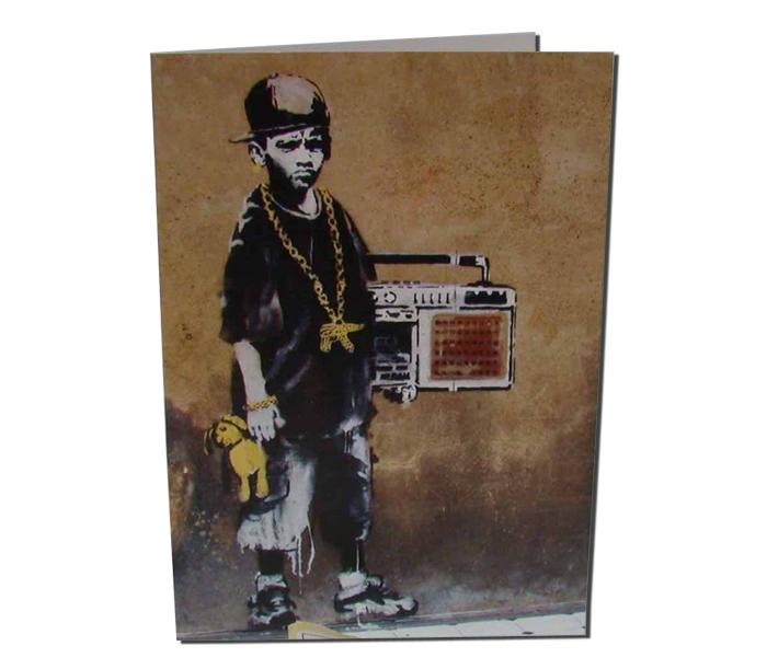 BanksyBBoyWithTeddyGreetingCard2