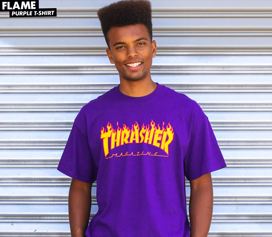 ThrasherFlameLogoTeePurple