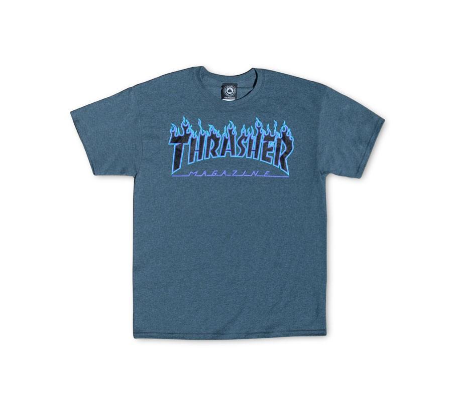 ThrasherFlameLogoDarkHeatherTee