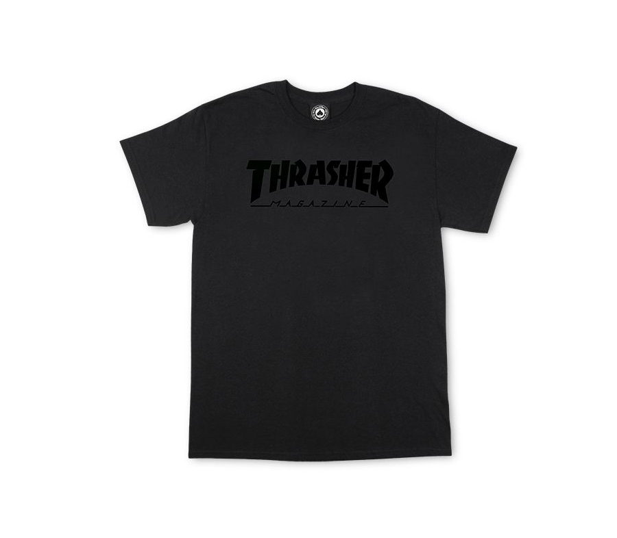 ThrasherMagLogoBlackOnBlackTee
