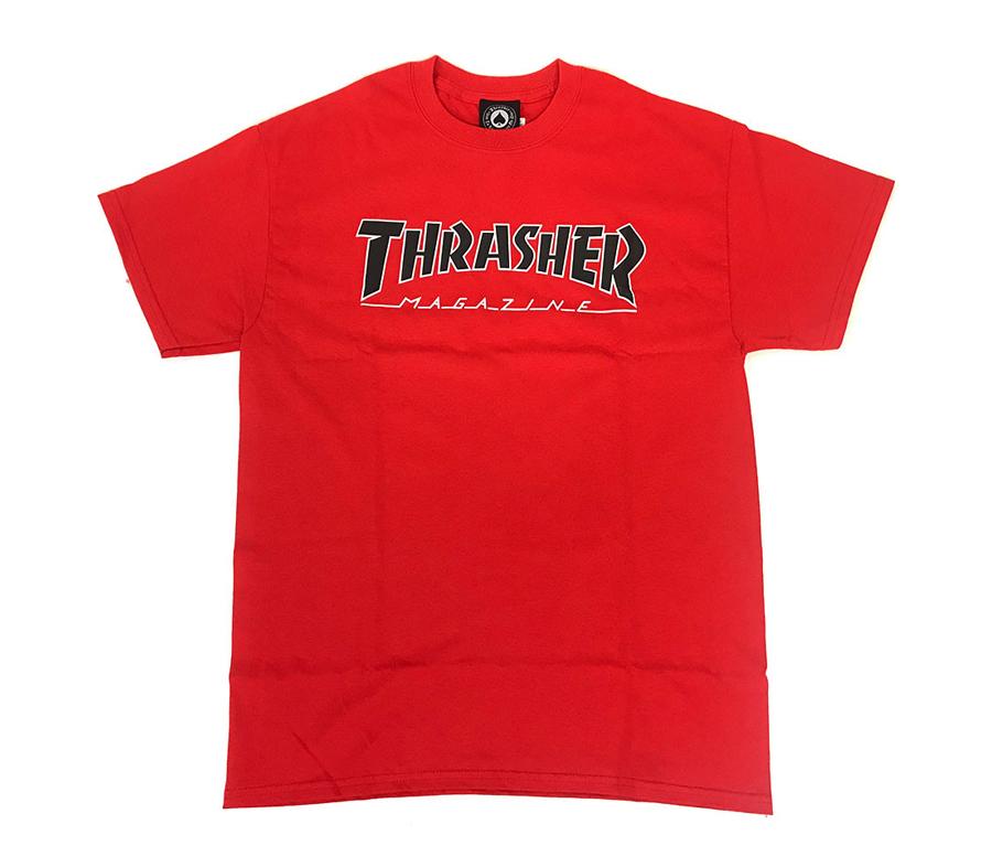ThrasherOutlinedTeeRedBlack