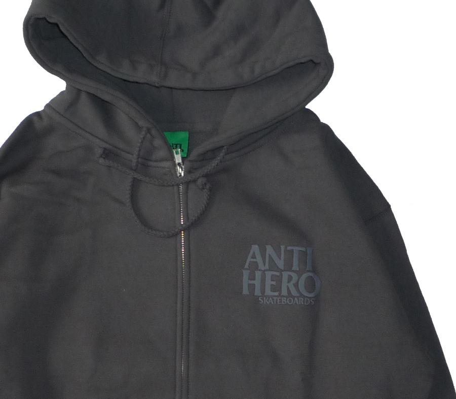 AntiHeroLilBlackHeroEmbroideryZipHoodCharcoal3