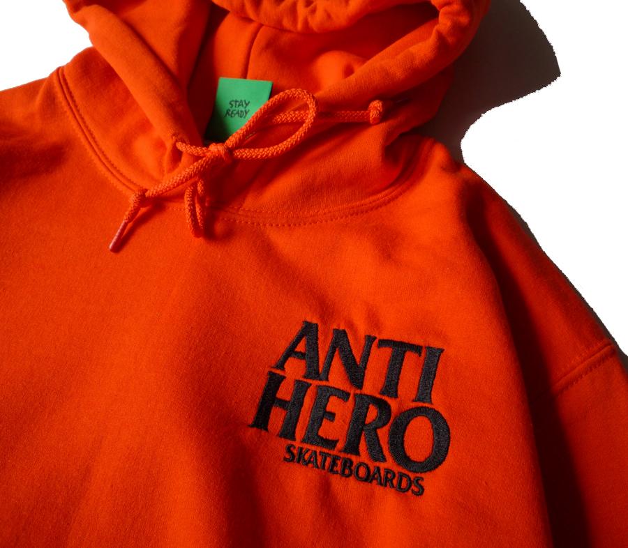 AntiHeroLiBlackHeroEmbroideryHoodieOrange2