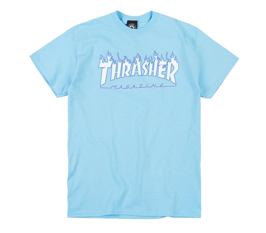 ThrasherFlameSkyBlueTee