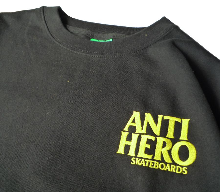AntiHeroLilBlackheroEmbroideryCrewneckSweatshirtBlackYellow2