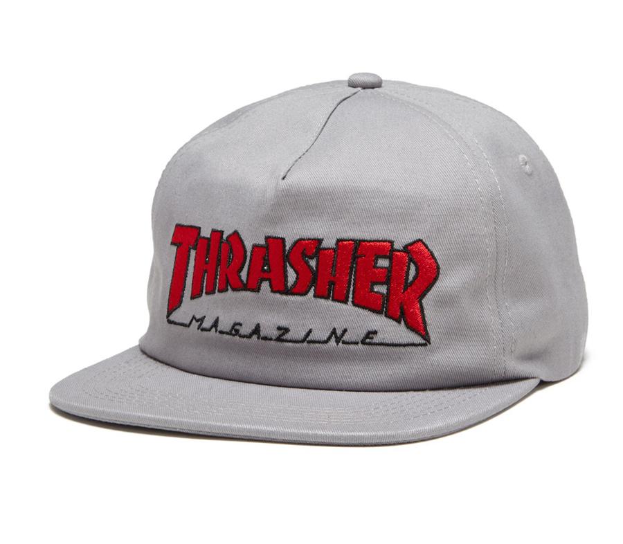 ThrasherOutlinedEMBSnapbackCapGrey