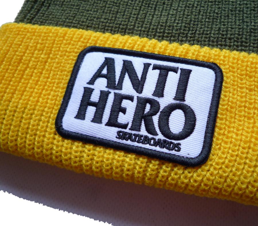 AntiHeroReservePatchCuffBeanieOliveYellow2